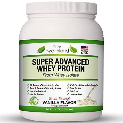 FAT FREE BEST TASTING Whey Protein Isolate Powder Vanilla Flavor Diet Supplements for Men, Women And Seniors. Organic Natural Pure Whey Protein Powder. LACTOSE FREE. Increase Lean Muscle Mass.