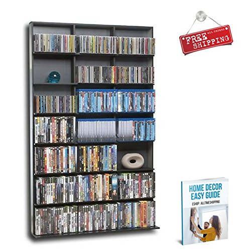 Multimedia Storage Cabinet Bookcase Rack Tower DVD CD Media Storage Racks Organizer Home Free Standing & eBook by AllTim3Shopping by ATS