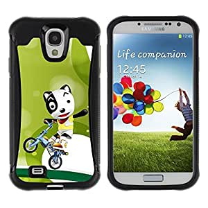LASTONE PHONE CASE / Suave Silicona Caso Carcasa de Caucho Funda para Samsung Galaxy S4 I9500 / Funny Cute Bicycle Dog