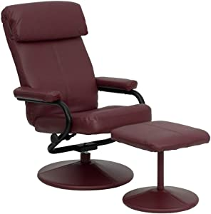 Flash Furniture Contemporary Multi-Position Headrest Recliner and Ottoman with Wrapped Base in Burgundy LeatherSoft