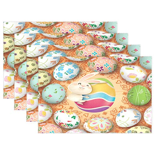 (Wamika Cute Bunny Rabbit Placemats Easter Eggs Hunt Table Mats Non-Slip Washable Heat Resistant Place Mats for Kitchen Dining Tray Mat Easter Decorations 12