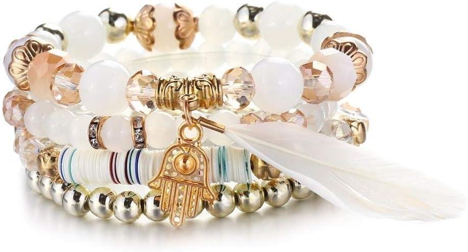 XIANNU Pulseras para Mujer,Pulseras de Perlas Blancas de Piedra Natural para Las Mujeres Encanto ala Brazaletes Pulseras de joyería Vintage Bohemia Set