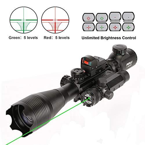 Pinty Rifle Scope 4-16x50, Illuminated Optics, Green Laser, Red-Coating Reflex Mini Sight