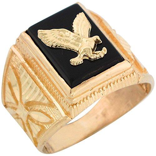 14k Yellow Gold Onyx Patriotic Eagle Mens Ring (Gold Onyx Eagle Ladies Ring)