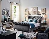 upholstered sleigh bed LILOLA Emerson Gray Velvet Queen Bed