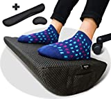 Foot Rest Cushion for Under Desk - Bonus Keyboard and Mouse Cushions - Ergonomic Non-Slip High Density Foam - Durable Footrest for Home and Office Your Feet Will Love (Black)