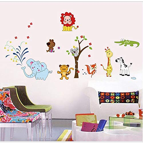 (RuiHome Safari Wildlife Animals Wall Sticker for Kids Cartoon Tiger Lion Elephant Brown Tree DIY PVC Removable Decals Bedroom Living Room Classroom Decor)