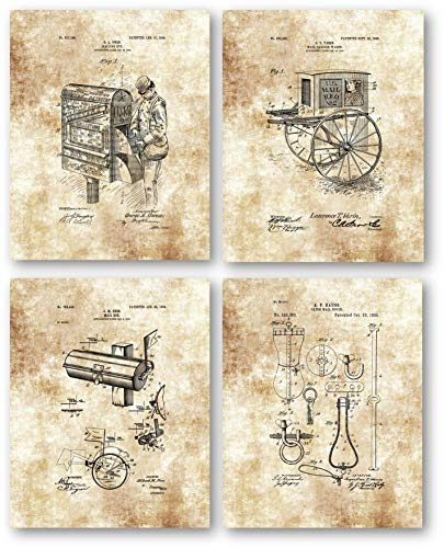 Christmas Post Office - Original Mailman Patent Artwork - Set of 4 8 x 10 Unframed Patent Prints - Great Gift for Postal Workers, Mail Carriers - Vintage Decor for Home Office, Post Office and Mancaves