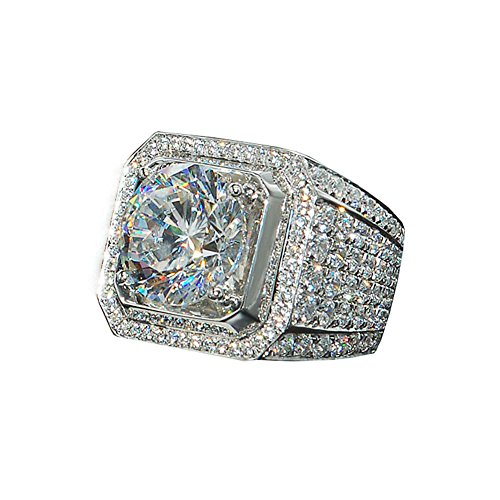 18K Men White Gold Ring Plated ICED OUT Simulated Lab Engagement Diamond Ring (Iced Out Mens Ring)