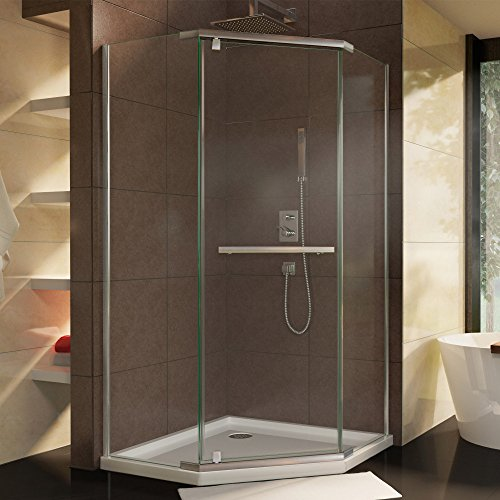 Neo Angle Shower Enclosure (DreamLine Prism 34 1/8 in. D x 34 1/8 in. W, Frameless Pivot Shower Enclosure, 3/8