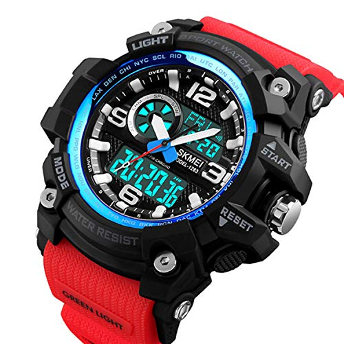 Candy-OU Fashion Sports Multifunction Outdoor Men's Watches Dual Display Digital Quartz Chronograph Wristwatches Relogio Masculino,Blue Red