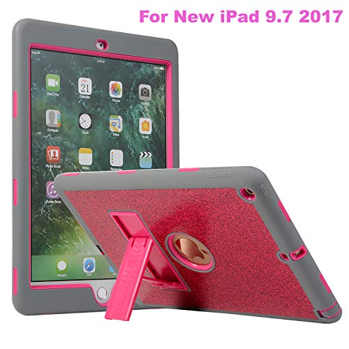 iPad 9.7 2018/2017 Case, ZERMU [Kickstand] 3in1 Heavy Duty Shockproof Rugged Silicone+Hard PC Bumper Glitter Sparkle Bling Shining Fashion Style Hybrid Sturdy Defender Case for iPad 5/6th Generation ()