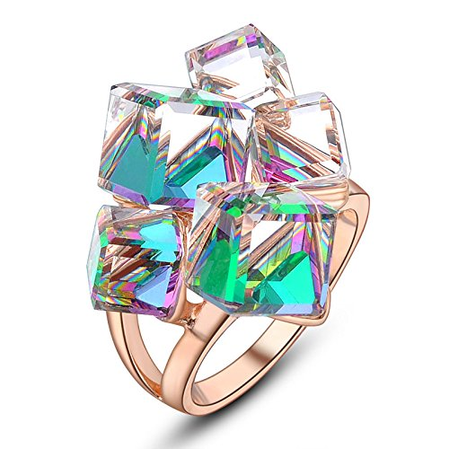 dnswez Multicolor Change 3D Cubic Crystals Cluster Statement Cocktail Rings for Women(10) ()