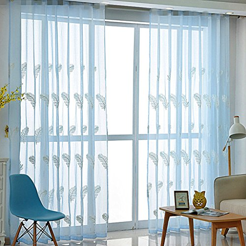 WPKIRA Beautiful Feather pattern Sheer Window Elegance Curtains/Drape/Rod Pocket Process, Linen Embroidery Perspective Sheer Window Curtains Drapes 1 Panel, Blue W75 x L96 inch