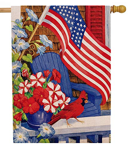 Dyrenson 4th of July 28 x 40 House Flag Large Double Sided Patriotic Cardinal Flower, July 4 Red Bird Geraniums Burlap Garden Yard Decoration, Spring Summer USA Decorative Seasonal Outdoor Iris Décor