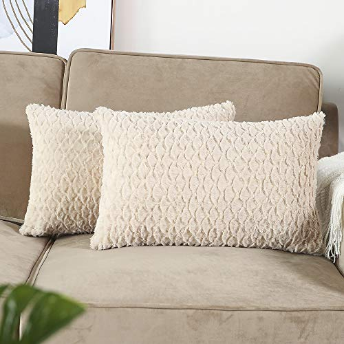 Madizz Pack of 2 Soft Plush Short Wool Decorative Throw Pillow Covers Luxury Style Cushion Case Pillow Shell for Sofa Bedroom Beige 12x20 inch Rectangular ()
