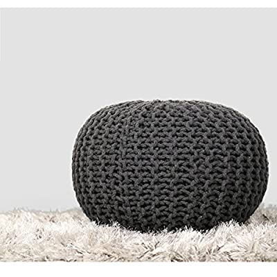 RAJRANG BRINGING RAJASTHAN TO YOU Pure Stuffed Pouf Hand Knitted Braided Cotton Cord Round Ottoman Small Space Bedroom Decorative Seating