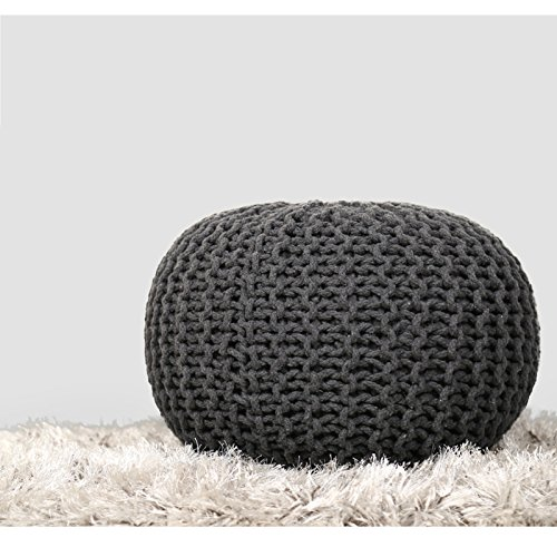Rajrang Hand Knit Pure Cotton Stuffed Pouf Charcole Grey Braid Cord Stitched Round Footstool Ottoman Home Decorative Perfect Seating