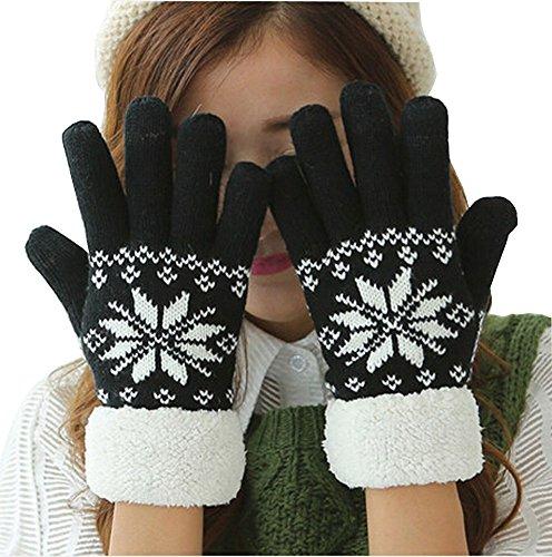 無駄だ終了しました前進X Shopレディース冬スノーフレークパターン厚みニット手袋