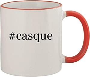 #casque - 11oz Ceramic Colored Rim & Handle Coffee Mug, Red