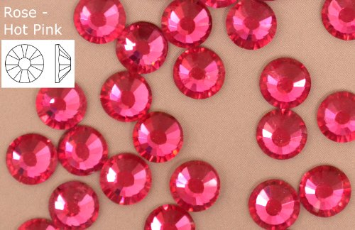 Pink Non 1440 Rhinestones Back Hot Fix x Crystals Hot EIMASS Flat Glass qxB76nwR4x