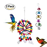 AiMiiNiii Bird Toys Chew Natural Wood Beads Handmade Small Medium-sized Edible Dye Birds Hanging Toy Bell Chain Decorative Ringer Parrot Play Toys (2 Pack)