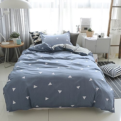 Twin Duvet Cover Cotton Bedding Set Gray-blue, Geometric Triangle Duvet Cover Queen for Kids Adult-Comfy,Breathable,Hidden Zipper-Gray,Twin