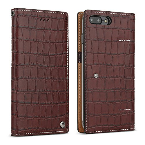 iPhone 7 Plus/iPhone 8 Plus Case, DesignSkin [Premium Croco]: [100% Handmade Genuine Leather] Crocodile Pattern Flip Wallet Unique Protective Card Holder Cash Storage Pockets Cover (Chocolate Brown)
