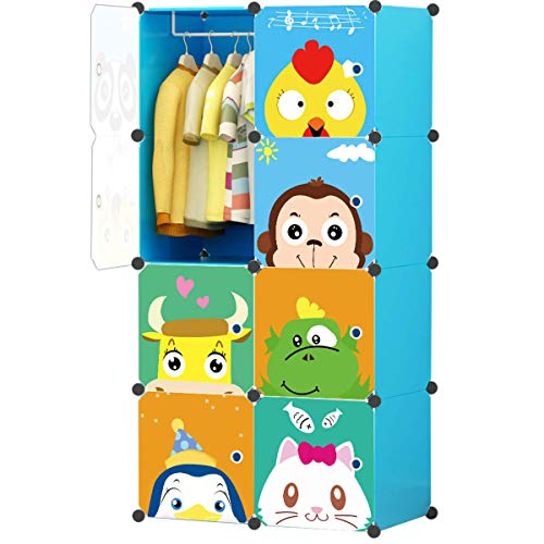 KOUSI Portable Kids Wardrobe Closet Children Dresser Hanging Storage Rack Clothes Closet Bedroom Armoire Cube Organizer Formaldehyde-Free Furniture, Blue, 6 Cubes&1 Hanging Section -