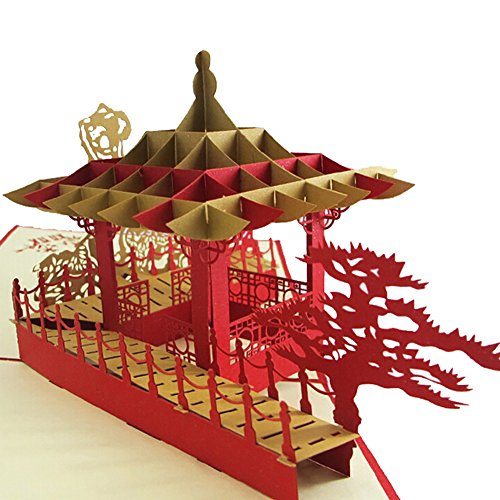 Sizet Chinese Pavilion 3D Pop Up Greeting Card Handmade Happy Birthday Wedding Anniversary Friendship Merry Christmas Thanksgiving Thank You Best Wish Good Luck Happy New Year Valentine's Day