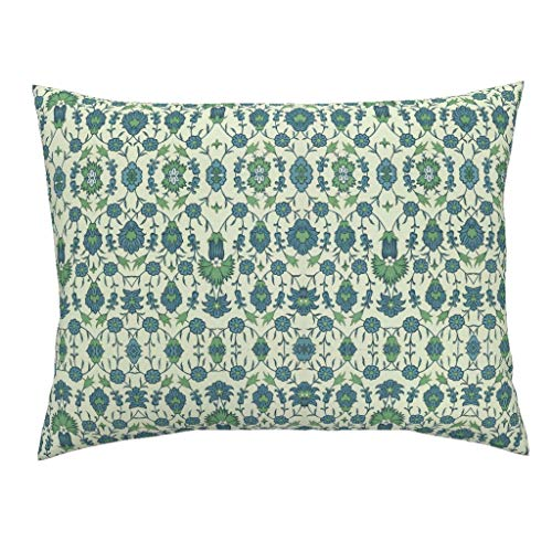 Roostery Floral Standard Knife Edge Pillow Sham Trellis Garden Vintage Ancient Arabic Ethnic Botanical by Hypersphere 100% Cotton - Garden Trellis Standard Sham