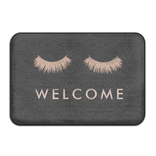 Stylish Black Rose Gold Eyelashes Welcome Super Absorbent Anti-Slip Mat,Funny Doormat,Indoor/Outdoor Decor Rug Doormat 23.6(L)X15.7(W) Inch Non-Slip Home (Gold Door Mat)
