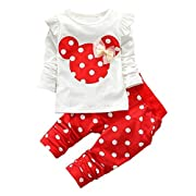 Favorland Baby Girls' Toddler Outfits Kids Clothes Shirt Top Pants Set(70,Red)
