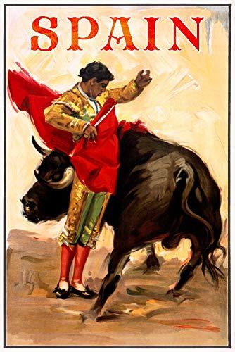 Spain - Matador and Bull (artist: Reus) c. 1944 - Vintage Artwork (12x18 Fine Art Print, Home Wall Decor Artwork - Matador Poster Art