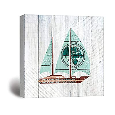Classic Artwork, Dazzling Work of Art, Square Rustic Sailing Themed Yacht on Wood Background