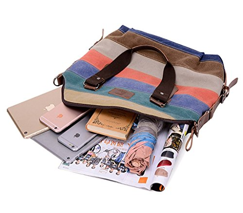 Tote Multicolor Top color Casual Stripes Body Handle Canvas Multi Bag Cross Melord a Women for Handbags H0x6qXIE