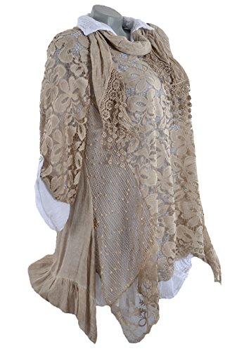 3tlg Sommer Tunika Lagenlook Spitze Kleid Unterkleid Hängerchen Schal Shirt 3/4 Netzoptik 36 38 40 42 44 S M L Beige Weiß