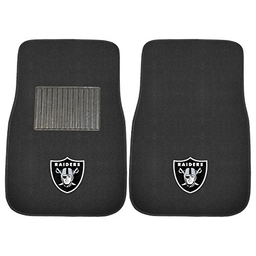 FANMATS 10345 NFL Oakland Raiders 2-Piece Embroidered Car Mat