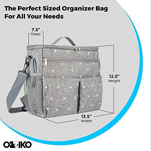 Parents Stroller Organizer Bag - Fits All Baby Stroller Models. Travel Bag with Shoulder Strap for Carrying Bottles, Diapers, Toys & Snacks. Insulated Cooling System, Cup Holder & Storage Pockets by Ozziko (Image #2)