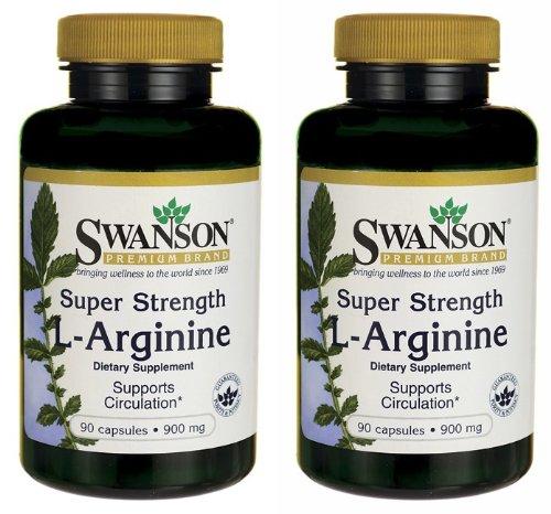 Swanson Marque Premium Super Strength L-Arginine 900 mg - 2 bouteilles de chacun des 90 capsules