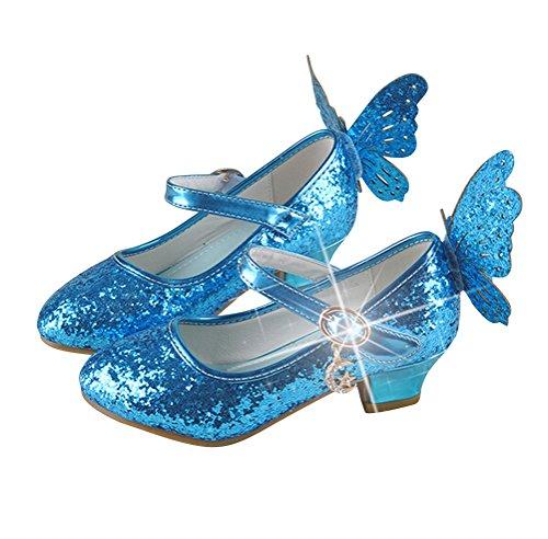 Brinny Mädchen Prinzessin Schuhe Glitter Paillette Kostüm Ballerinas Heels Schuhe Schmetterling Pumps festliche Hochzeit Blau
