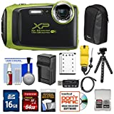 Cheap Fujifilm FinePix XP130 Shock & Waterproof Wi-Fi Digital Camera (Lime) with 64GB Card + Battery +Charger + Cases + Tripod + Float Strap + Kit