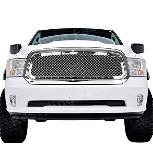 Restyling Factory 2013-2016 Dodge RAM 1500 Truck Chrome Complete Front Hood Mesh Grille Full Replacement Grille Shell (Chrome)