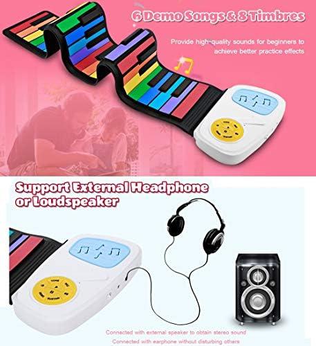 Oprolbare toetsenbordpiano, opvouwbare regenboogkleur 49 Standaardtoetsen Flexibel kinderpianotoetsenbord met ingebouwde luidspreker Educatief speelgoed voor kinderen