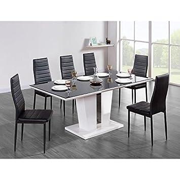 Generique Trevise Table A Manger 8 Personnes 180x90 Cm Noir Et Laque Blanc Brillant