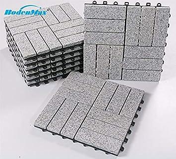 BodenMax LLGRA3H-GRY-5 Baldosas de Granito para terraza, jardines, balcones, piscinas, saunas, interiores y exteriores. Granito gris. Set de 8 baldosas de granito de 30 cm x 30 cm x 2,5 cm.: Amazon.es: