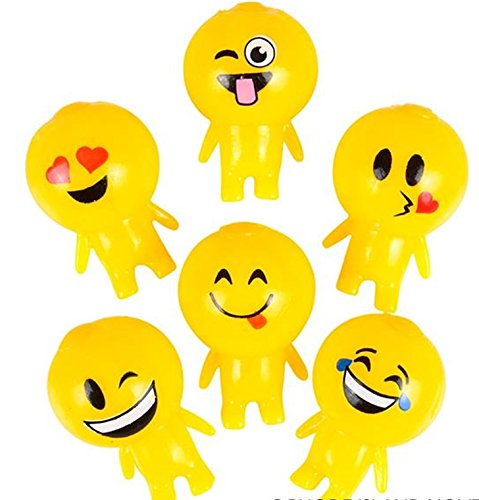 12 Pack - Squishy Sticky Gooey Splat Smiley Face Emoji Buddy Toys - emoji party favors and toys (Splat Toys)