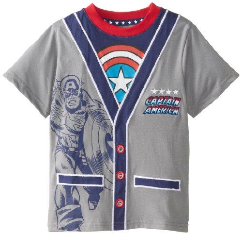 Marvel Boy's Captain America Ca-Rdigan Juvy, Heather Grey, 4