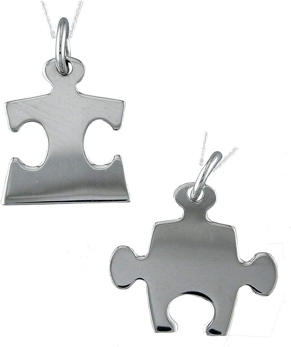 Alylosilver Collar Colgantes Piezas de Puzzle de Plata para Hombre Mujer - Colgante Tu y Yo Incluye Dos Cadenas de Plata de 40 cm y Estuche para Regalo