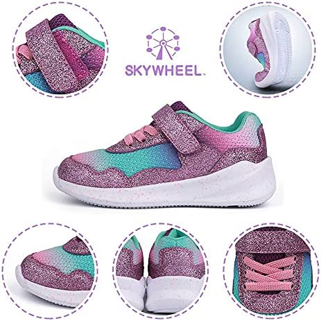 51gfL9aZlKS. AC SKYWHEEL Toddlers/Little Kids Cute/Cool Sequins/Bright Shoes Breathable Strap Athletic Running/Walking Sports Sneakers for Boys & Girls    【Skywheel Size Chart】 5 Toddler = US Size 5 = Insole Length 13.5 cm = Fit Foot Length 12.7 cm/ 5.0 in 6 Toddler = US Size 6 = Insole Length 14.5 cm = Fit Foot Length 13.5 cm/ 5.3 in 7 Toddler = US Size 7 = Insole Length 15.2 cm = Fit Foot Length 14.4 cm/ 5.7 in 8 Toddler = US Size 8 = Insole Length 16.1 cm = Fit Foot Length 15.2 cm/ 6.0 in 9 Toddler = US Size 9 = Insole Length 16.9 cm = Fit Foot Length 16.0 cm/ 6.3 in 10 Toddler = US Size 10 = Insole Length 17.7 cm = Fit Foot Length 16.9 cm/ 6.7 in 11 Little Kid = US Size 11 = Insole Length 18.6 cm = Fit Foot Length 17.7 cm/ 7.0 in 12 Little Kid = US Size 12 = Insole Length 19.4 cm = Fit Foot Length 18.6 cm/ 7.3 in 13 Little Kid = US Size 13 = Insole Length 20.2 cm = Fit Foot Length 19.2 cm/ 7.6 in 1 Big Kid = US Size 1 = Insole Length 21.0 cm = Fit Foot Length 20.0 cm/ 7.9 in 2 Big Kid = US Size 2 = Insole Length 21.8 cm = Fit Foot Length 20.8 cm/ 8.2 in 3 Big Kid = US Size 3 = Insole Length 22.7 cm = Fit Foot Length 21.7 cm/ 8.5 in 4 Big Kid = US Size 4 = Insole Length 23.6 cm = Fit Foot Length 22.5 cm/ 8.9 in 5 Big Kid = US Size 5 = Insole Length 24.4 cm = Fit Foot Length 23.4 cm/ 9.2 in MD sole⚾ BREATHABLE MESH UPPER: Knitted mesh fabric upper offers lightweight breathability, keeps feet dry and comfortable. Nearly one piece textured breathable mesh upper. These kids sneakers with good stretch upper allow the foot to secure fit, breathable and lightweight fabric keeps your feet dry and comfortable.⚾ CLASSICAL ERGONOMIC DESIGN: The crash-proof toe and wrap-around heel protect children's feet in all directions, providing steady support for the heel and ankle when they wear our boy's sneakers. Flexible traction MD outsole, while a durable outsole means these sneakers will support everyday wear and tear.⚾ LIGHTWEIGHT MATERIAL: Superlight EVA outsole is 20% lighter